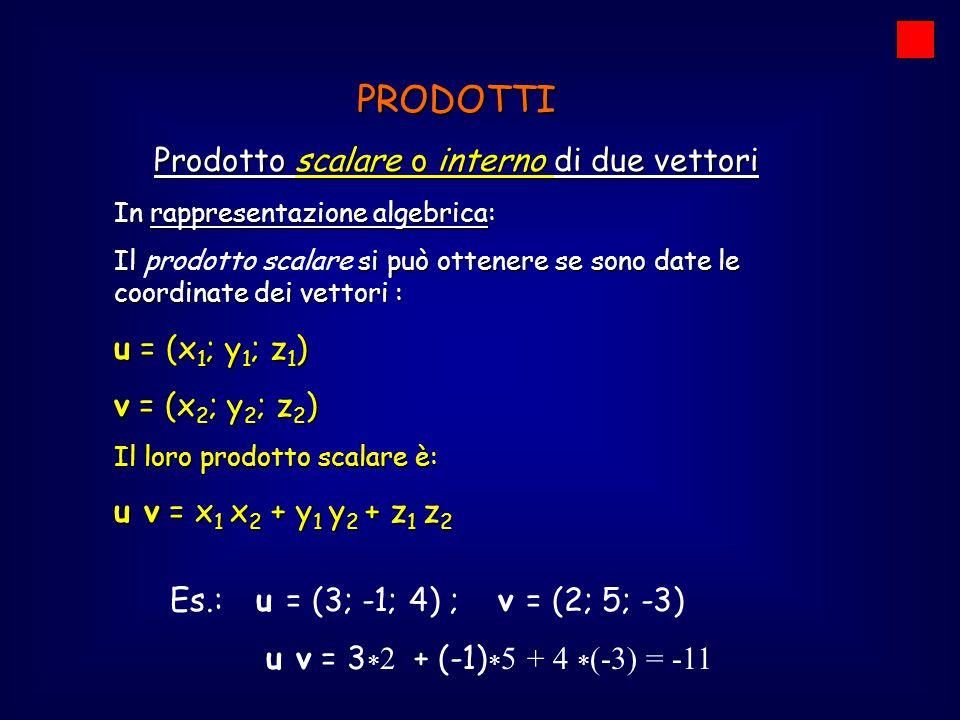 PRODOTTI Prodotto scalare o interno di due vettori In rappresentazione algebrica: Il si può ottenere se sono date le coordinate dei vettori : Il prodo