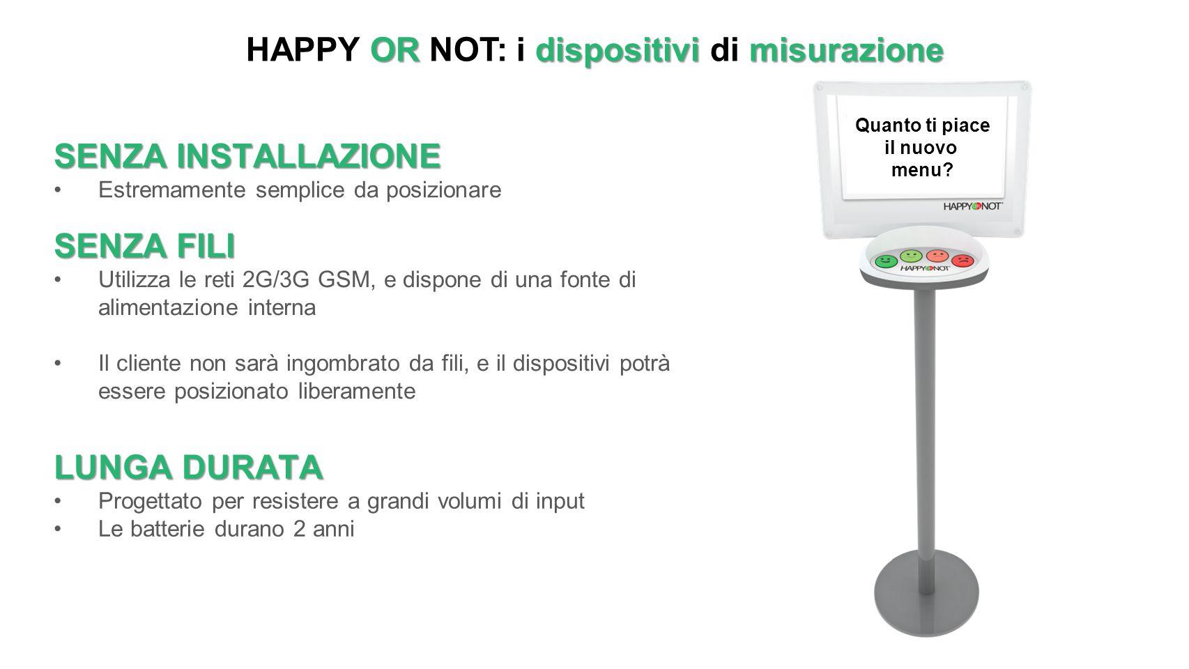 ORdispositivi misurazione HAPPY OR NOT: i dispositivi di misurazione SENZA INSTALLAZIONE Estremamente semplice da posizionare SENZA FILI Utilizza le r
