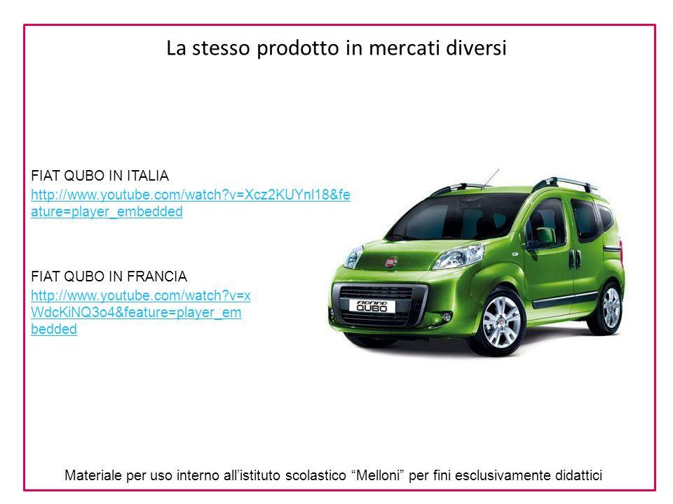 La stesso prodotto in mercati diversi FIAT QUBO IN ITALIA FIAT QUBO IN FRANCIA http://www.youtube.com/watch?v=Xcz2KUYnl18&fe ature=player_embedded htt