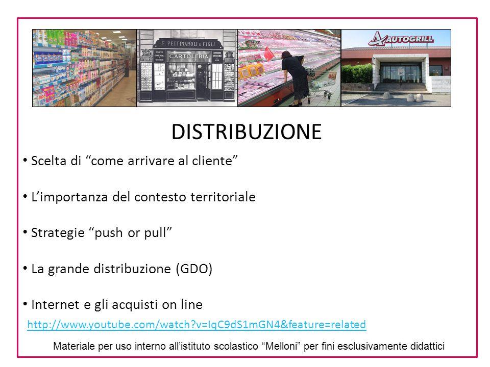 """DISTRIBUZIONE Scelta di """"come arrivare al cliente"""" L'importanza del contesto territoriale Strategie """"push or pull"""" La grande distribuzione (GDO) Inter"""