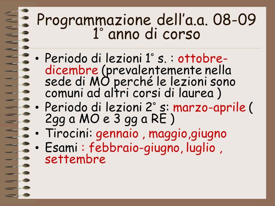 Programmazione dell'a.a. 08-09 1° anno di corso Periodo di lezioni 1° s. : ottobre- dicembre (prevalentemente nella sede di MO perché le lezioni sono