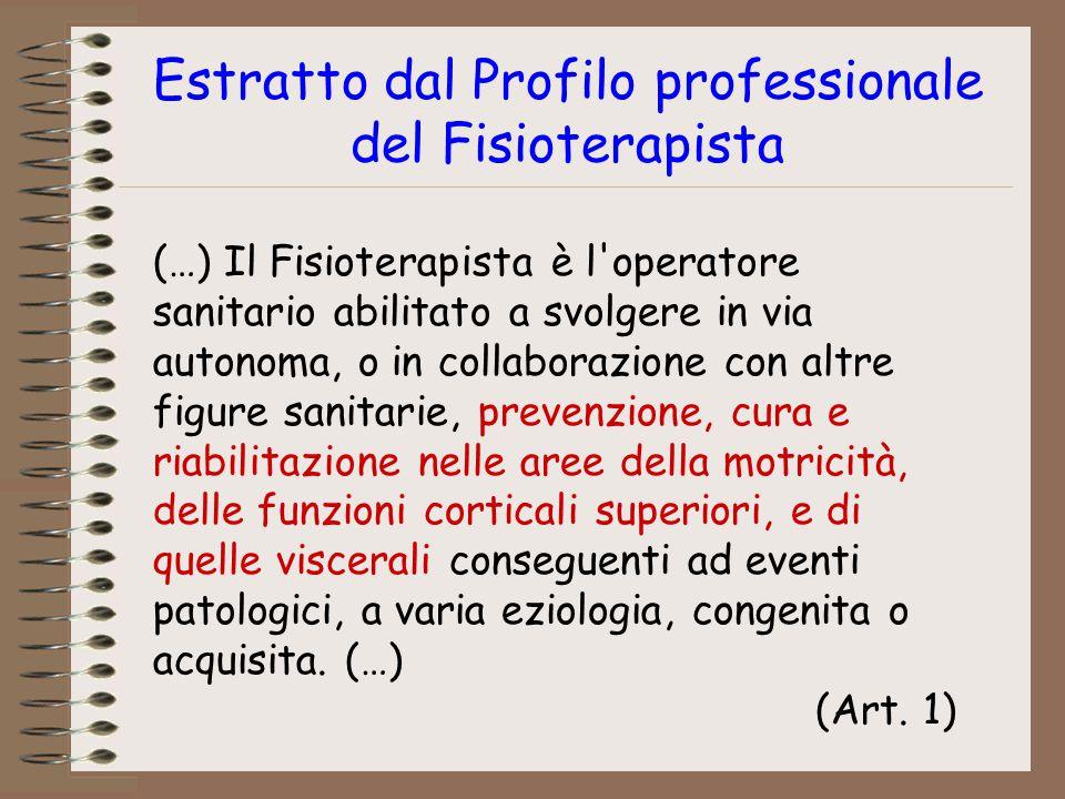 Estratto dal Profilo professionale del Fisioterapista (…) Il Fisioterapista è l'operatore sanitario abilitato a svolgere in via autonoma, o in collabo