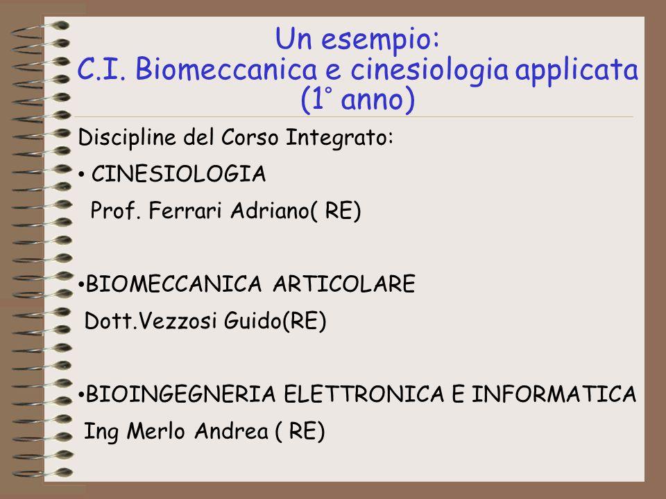 Un esempio: C.I. Biomeccanica e cinesiologia applicata (1° anno) Discipline del Corso Integrato: CINESIOLOGIA Prof. Ferrari Adriano( RE) BIOMECCANICA