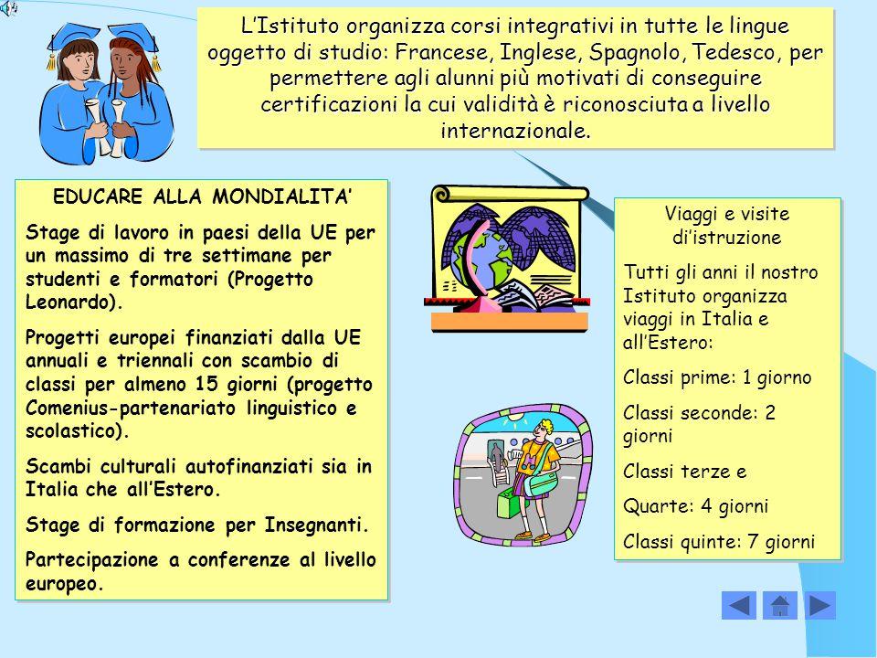 L'Istituto organizza corsi integrativi in tutte le lingue oggetto di studio: Francese, Inglese, Spagnolo, Tedesco, per permettere agli alunni più motivati di conseguire certificazioni la cui validità è riconosciuta a livello internazionale.