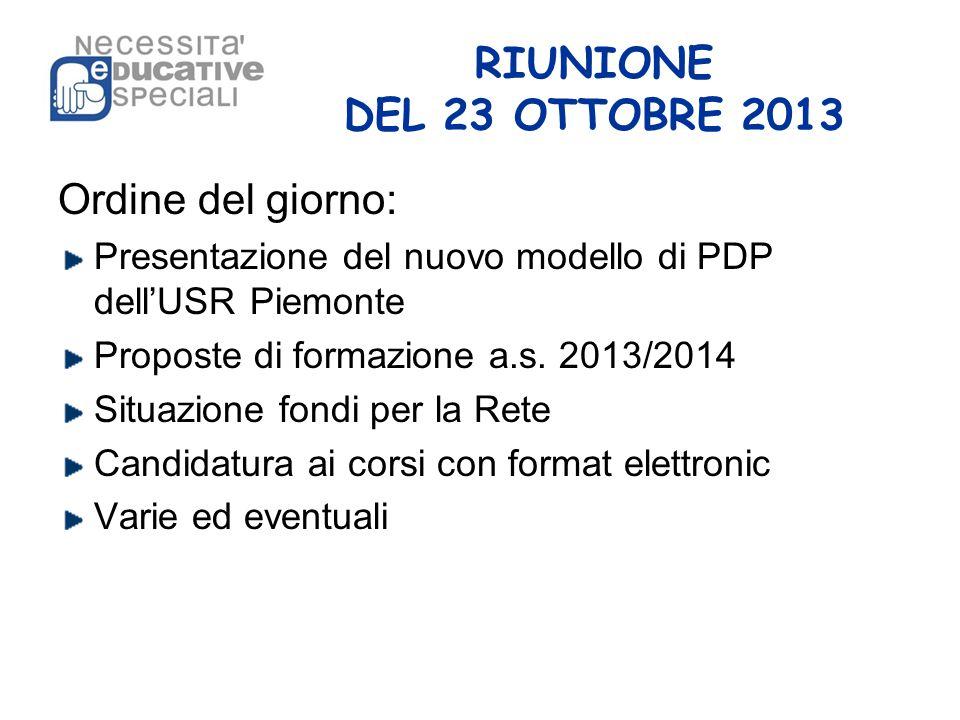 RIUNIONE DEL 23 OTTOBRE 2013 Ordine del giorno: Presentazione del nuovo modello di PDP dell'USR Piemonte Proposte di formazione a.s. 2013/2014 Situazi