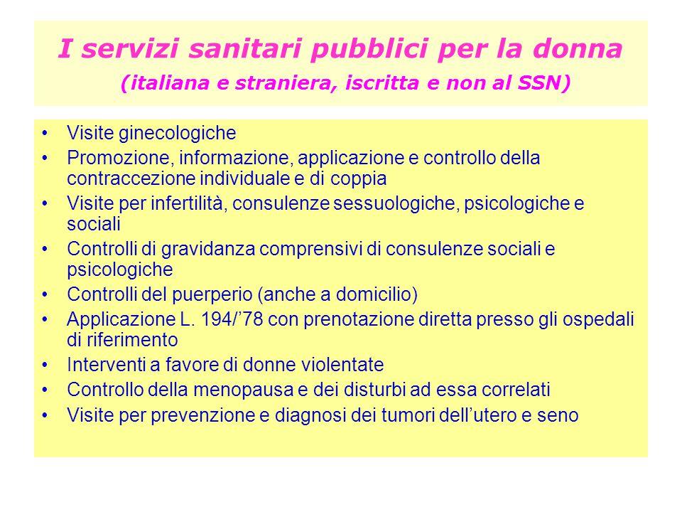 I servizi sanitari pubblici per la donna (italiana e straniera, iscritta e non al SSN) Visite ginecologiche Promozione, informazione, applicazione e c