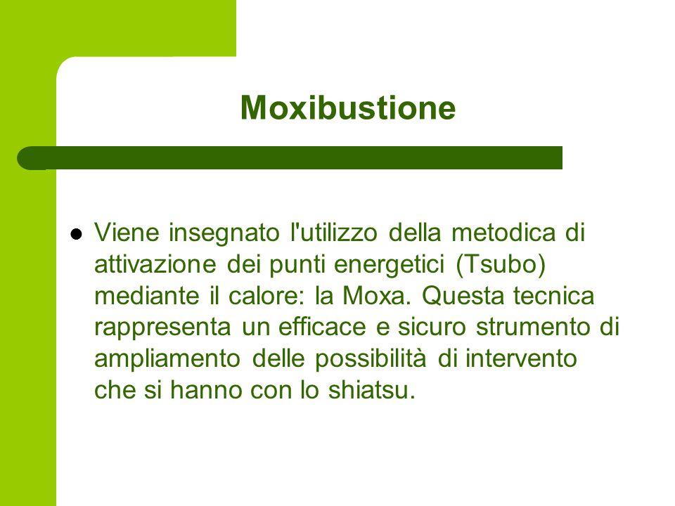 Moxibustione Viene insegnato l utilizzo della metodica di attivazione dei punti energetici (Tsubo) mediante il calore: la Moxa.