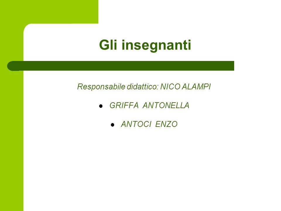 Gli insegnanti Responsabile didattico: NICO ALAMPI GRIFFA ANTONELLA ANTOCI ENZO