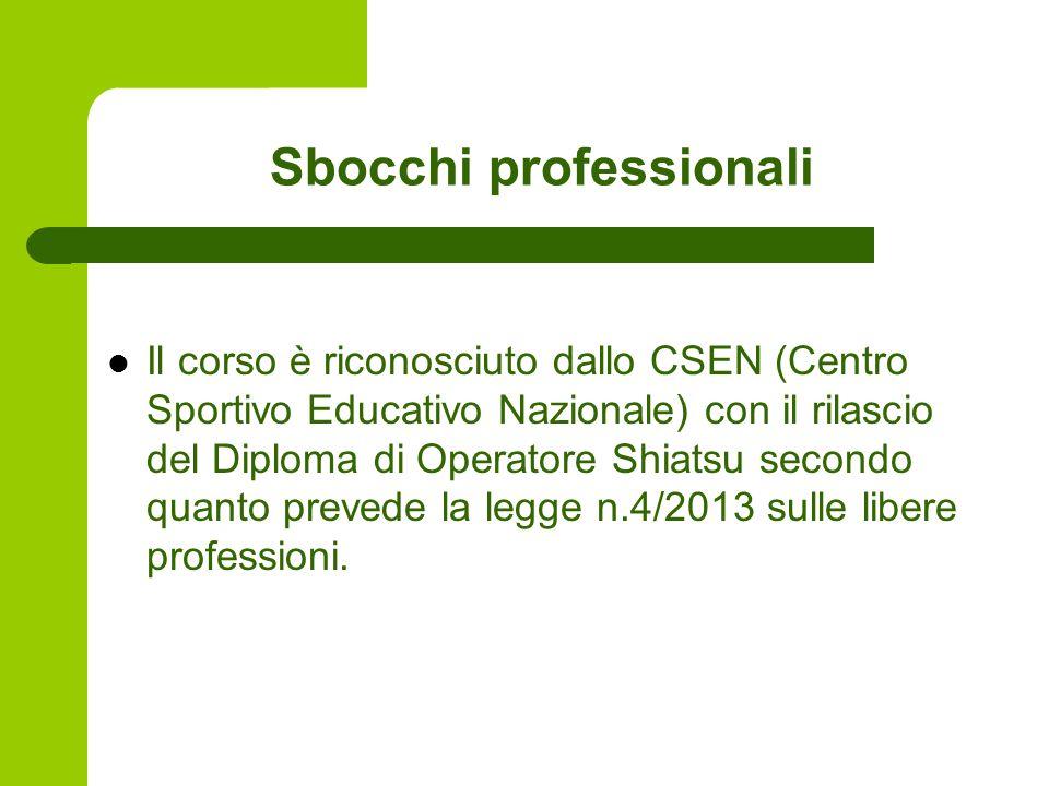 Sbocchi professionali Il corso è riconosciuto dallo CSEN (Centro Sportivo Educativo Nazionale) con il rilascio del Diploma di Operatore Shiatsu secondo quanto prevede la legge n.4/2013 sulle libere professioni.