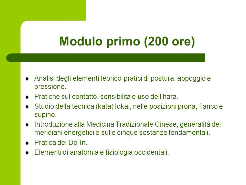 Modulo primo (200 ore) Analisi degli elementi teorico-pratici di postura, appoggio e pressione.