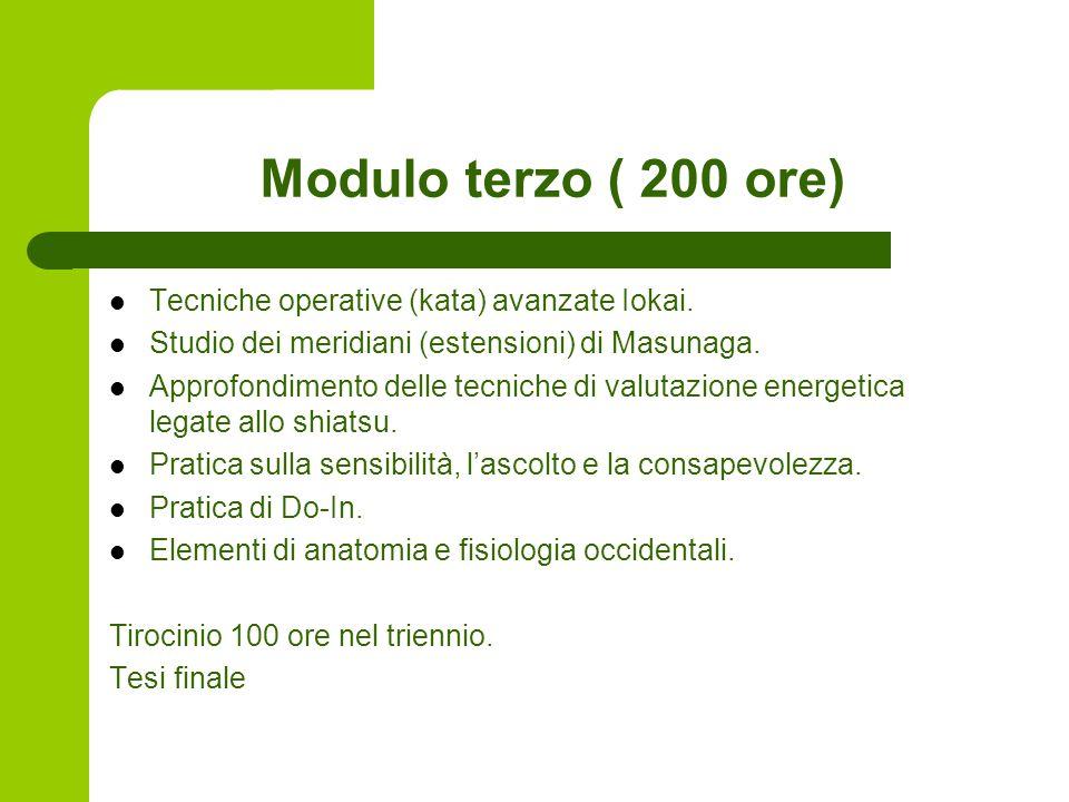 Modulo terzo ( 200 ore) Tecniche operative (kata) avanzate Iokai.