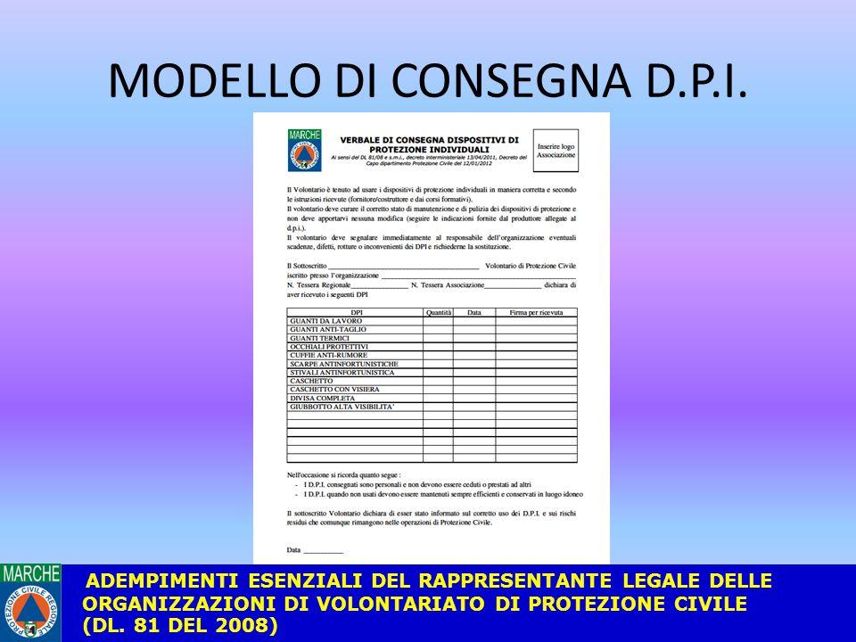 MODELLO DI CONSEGNA D.P.I.