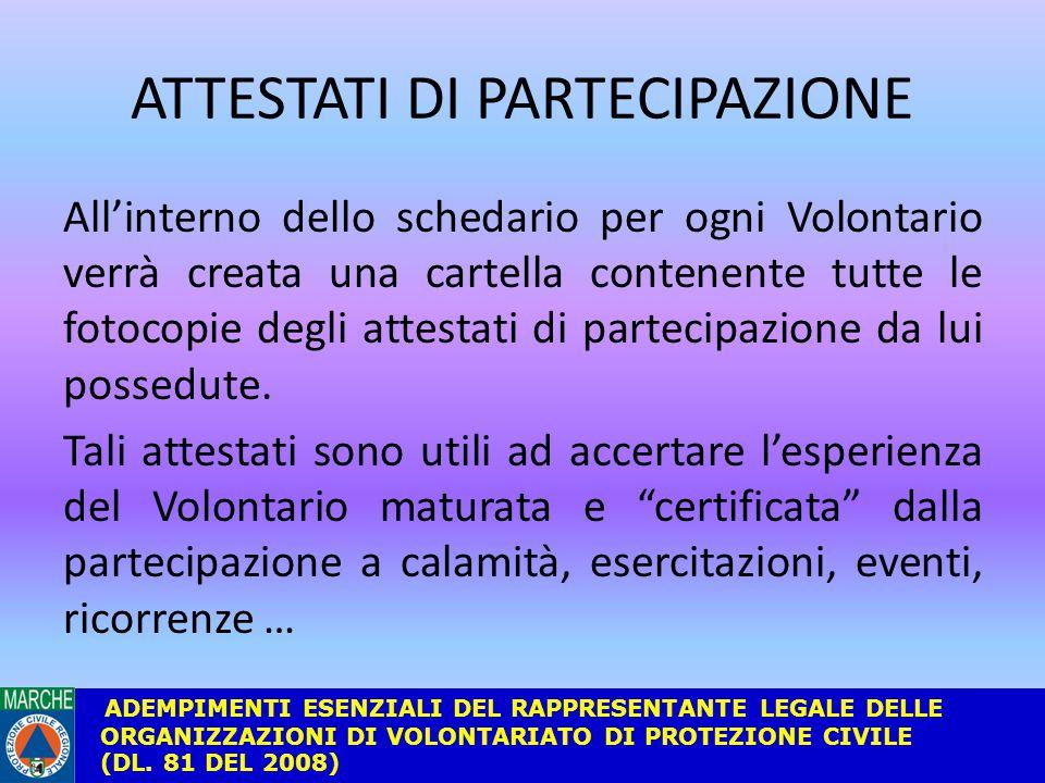 ATTESTATI DI PARTECIPAZIONE All'interno dello schedario per ogni Volontario verrà creata una cartella contenente tutte le fotocopie degli attestati di partecipazione da lui possedute.