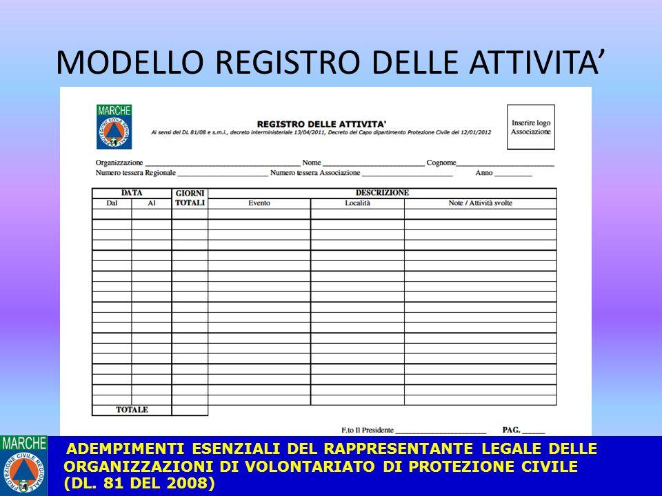 MODELLO REGISTRO DELLE ATTIVITA' ADEMPIMENTI ESENZIALI DEL RAPPRESENTANTE LEGALE DELLE ORGANIZZAZIONI DI VOLONTARIATO DI PROTEZIONE CIVILE (DL.