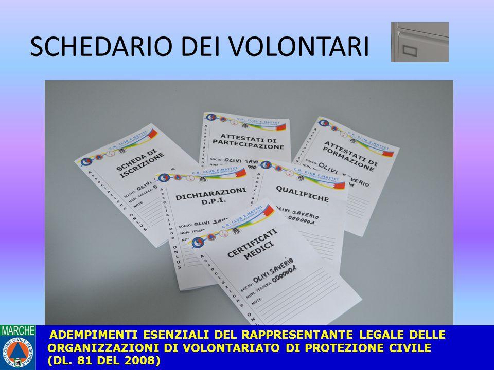SCHEDARIO DEI VOLONTARI ADEMPIMENTI ESENZIALI DEL RAPPRESENTANTE LEGALE DELLE ORGANIZZAZIONI DI VOLONTARIATO DI PROTEZIONE CIVILE (DL.