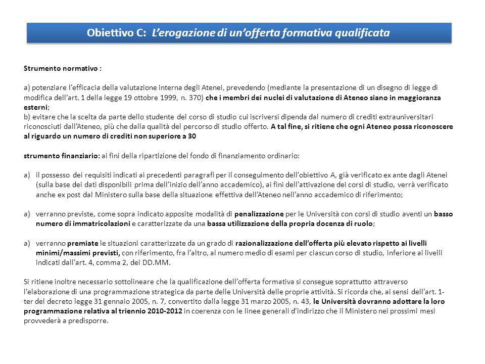 Strumento normativo : a) potenziare l'efficacia della valutazione interna degli Atenei, prevedendo (mediante la presentazione di un disegno di legge di modifica dell'art.