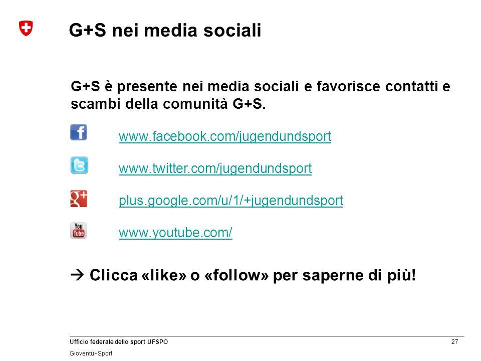 27 Ufficio federale dello sport UFSPO Gioventù+Sport G+S è presente nei media sociali e favorisce contatti e scambi della comunità G+S. www.facebook.c