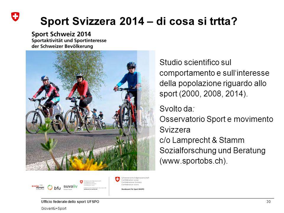 30 Ufficio federale dello sport UFSPO Gioventù+Sport Sport Svizzera 2014 – di cosa si trtta? Studio scientifico sul comportamento e sull'interesse del