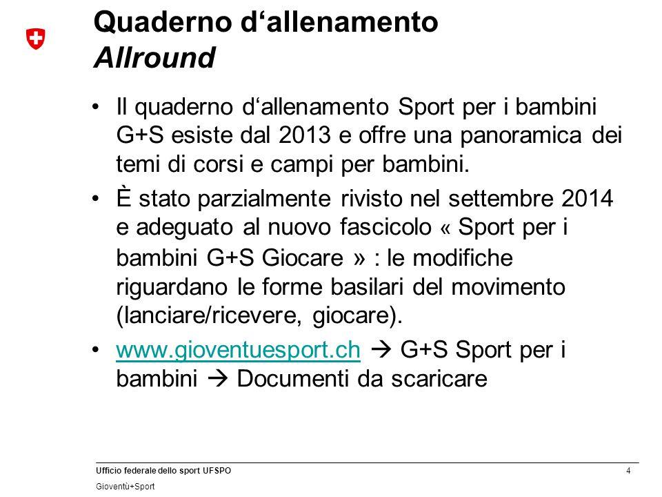 5 Ufficio federale dello sport UFSPO Gioventù+Sport Livello Capitolo principale Rinvio al mezzo didattico