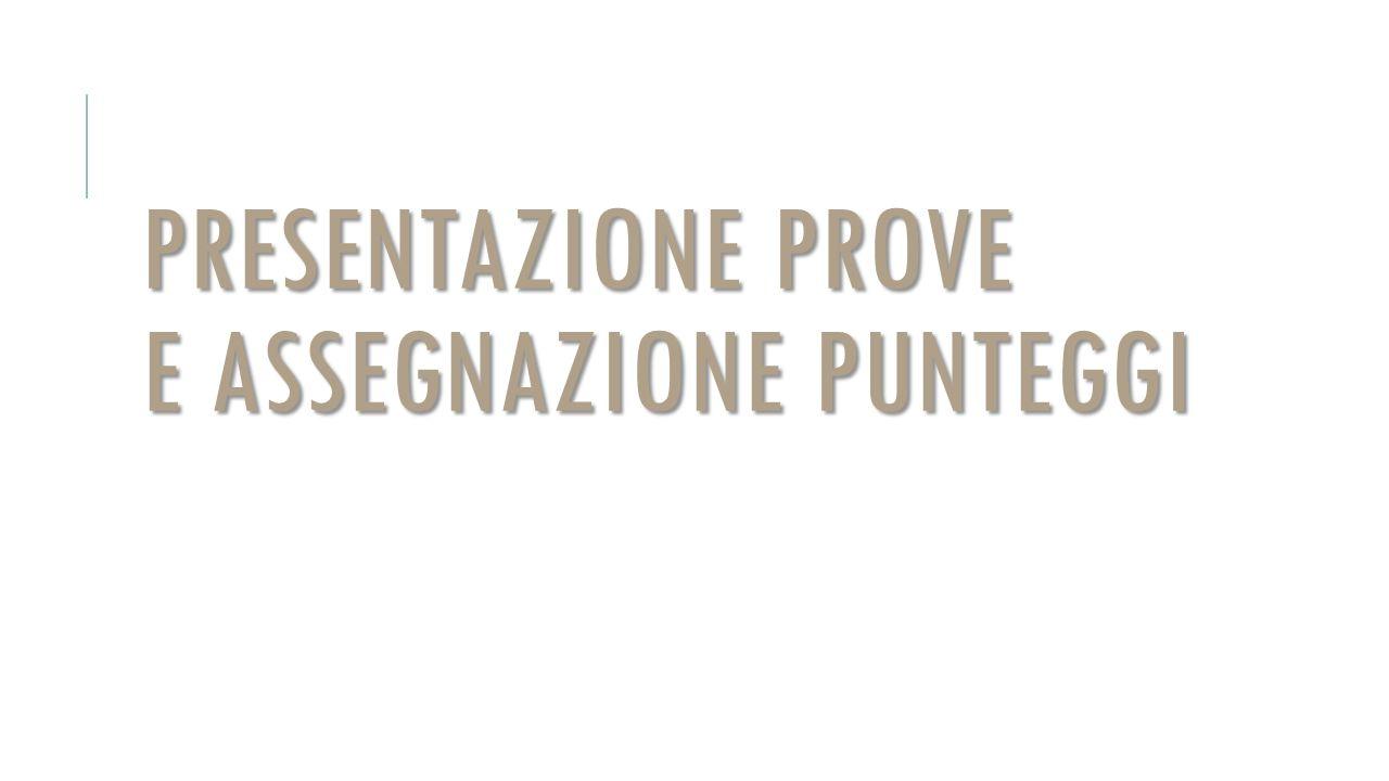 PRESENTAZIONE PROVE E ASSEGNAZIONE PUNTEGGI