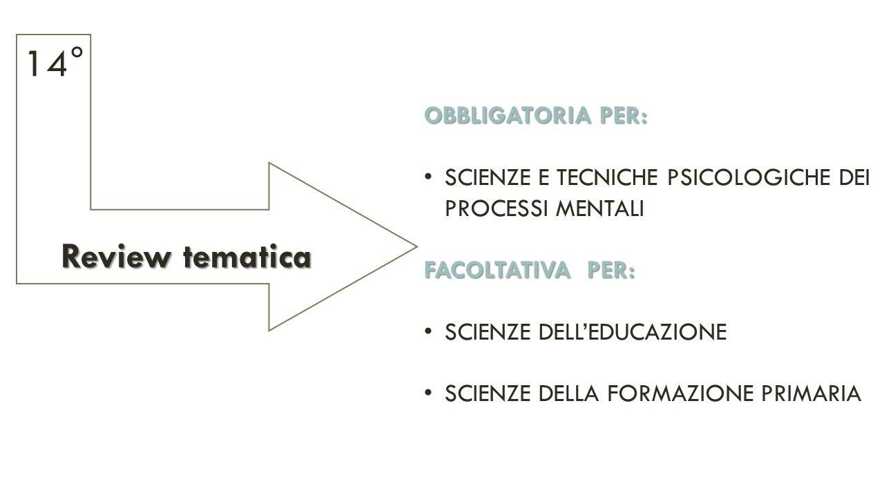 Review tematica Review tematica 14° OBBLIGATORIA PER: SCIENZE E TECNICHE PSICOLOGICHE DEI PROCESSI MENTALI FACOLTATIVA PER: SCIENZE DELL'EDUCAZIONE SCIENZE DELLA FORMAZIONE PRIMARIA