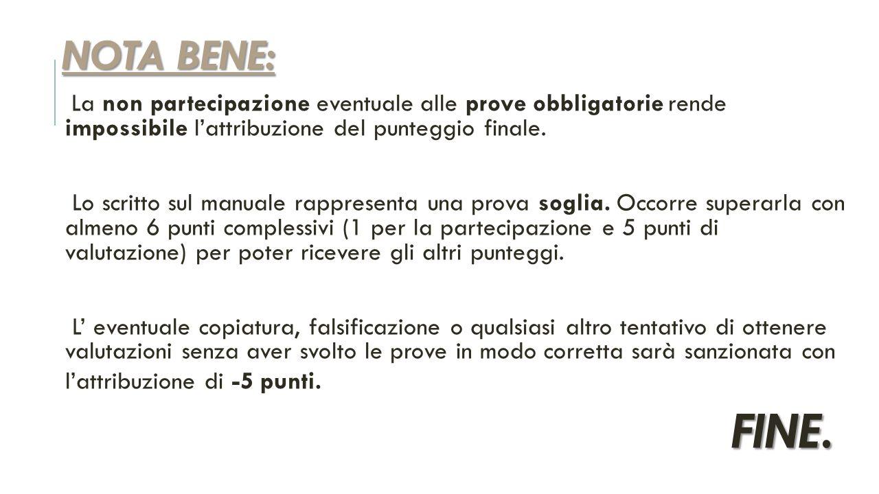 NOTA BENE: La non partecipazione eventuale alle prove obbligatorie rende impossibile l'attribuzione del punteggio finale.