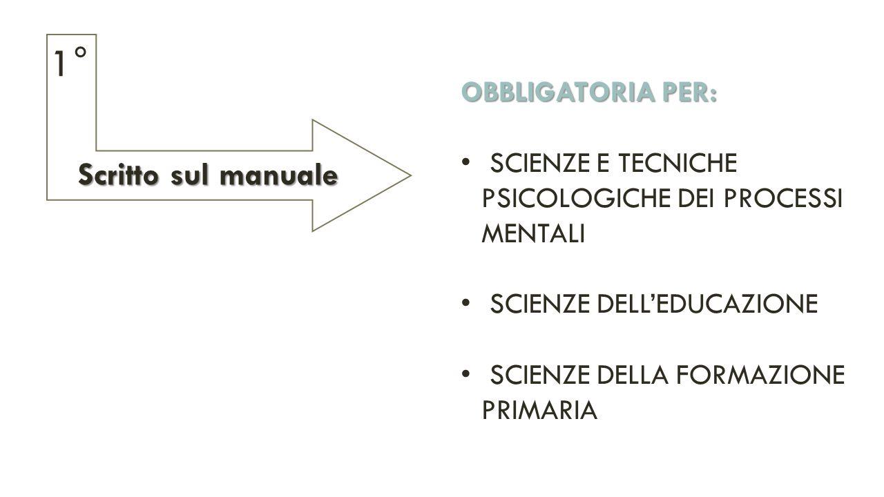 OBBLIGATORIA PER: SCIENZE E TECNICHE PSICOLOGICHE DEI PROCESSI MENTALI SCIENZE DELL'EDUCAZIONE SCIENZE DELLA FORMAZIONE PRIMARIA Scritto sul manuale 1°