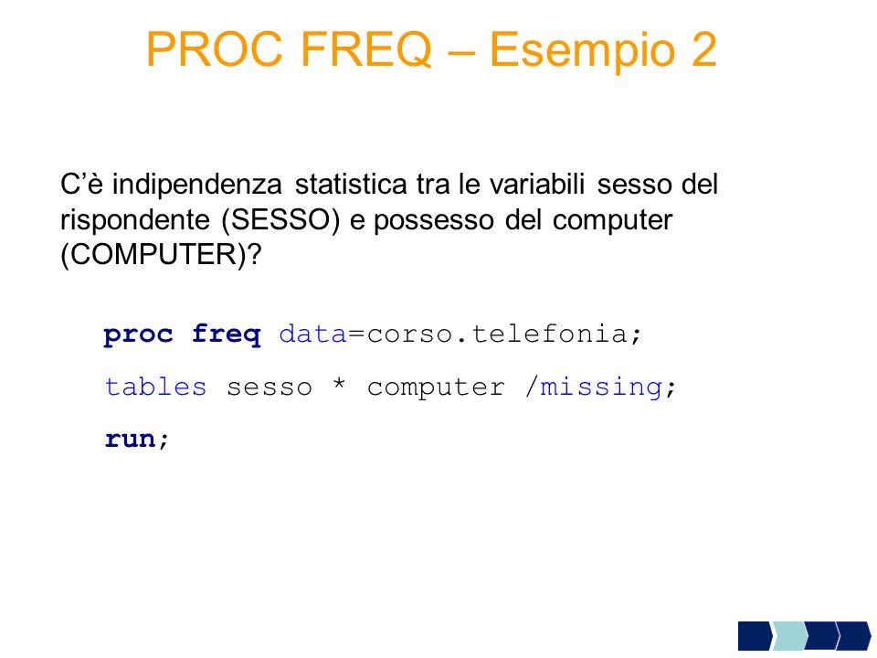 proc freq data=corso.telefonia; tables sesso * computer /missing; run; C'è indipendenza statistica tra le variabili sesso del rispondente (SESSO) e po