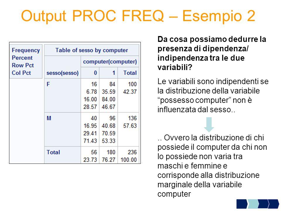 Output PROC FREQ – Esempio 2 Da cosa possiamo dedurre la presenza di dipendenza/ indipendenza tra le due variabili? Le variabili sono indipendenti se