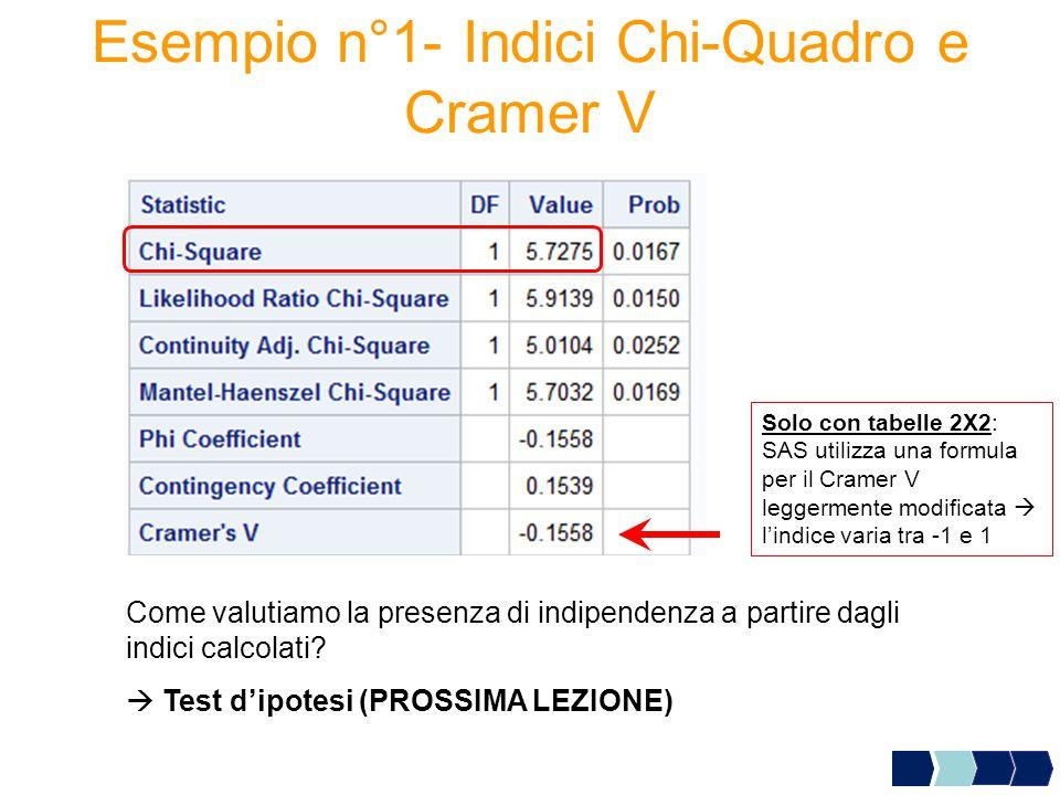 Esempio n°1- Indici Chi-Quadro e Cramer V Come valutiamo la presenza di indipendenza a partire dagli indici calcolati?  Test d'ipotesi (PROSSIMA LEZI