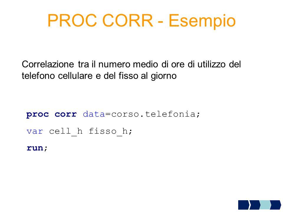 PROC CORR - Esempio Correlazione tra il numero medio di ore di utilizzo del telefono cellulare e del fisso al giorno proc corr data=corso.telefonia; v