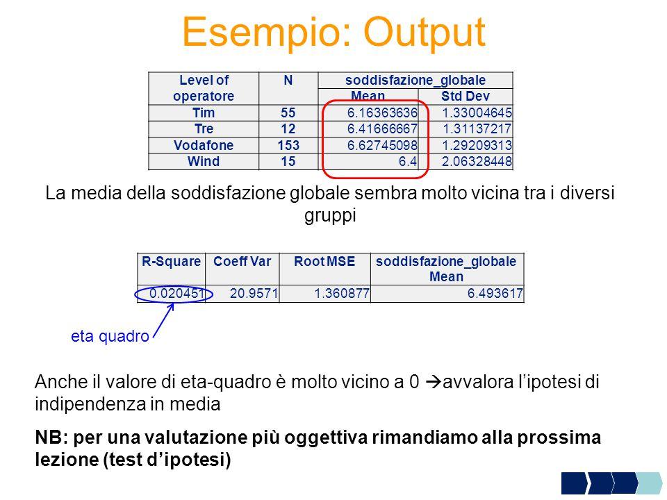 Esempio: Output Level ofNsoddisfazione_globale operatoreMeanStd Dev Tim556.163636361.33004645 Tre126.416666671.31137217 Vodafone1536.627450981.2920931