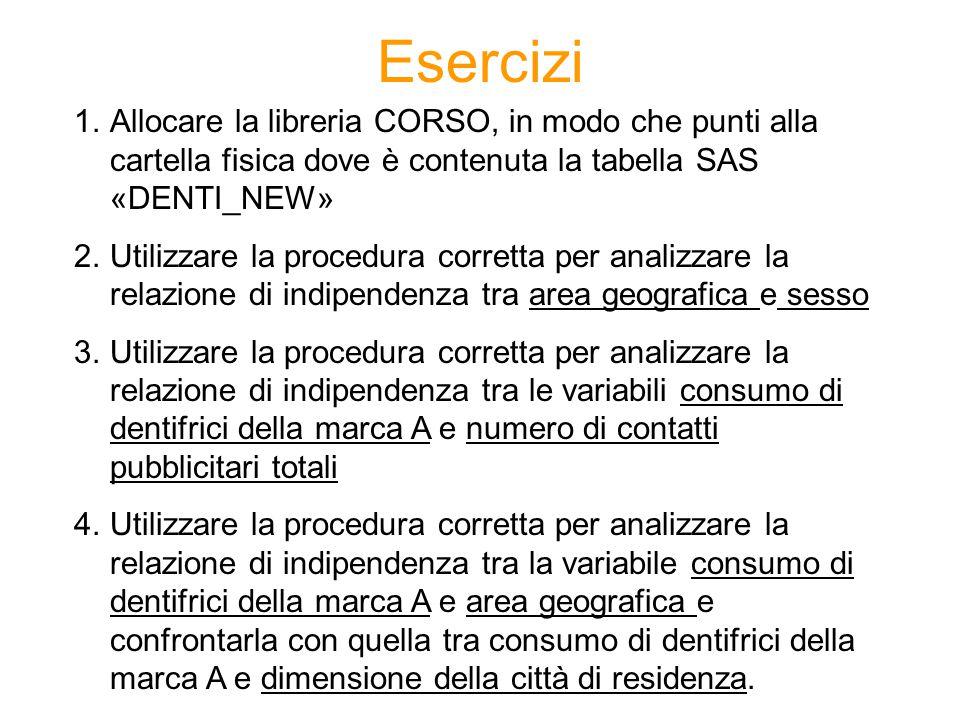 Esercizi 1.Allocare la libreria CORSO, in modo che punti alla cartella fisica dove è contenuta la tabella SAS «DENTI_NEW» 2.Utilizzare la procedura co