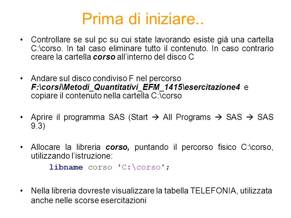 PROC CORR - Descrizione La PROC CORR permette di calcolare la correlazione tra due o più variabili quantitative proc corr data= dataset; var variabile1 variabile2 … variabilen; run;