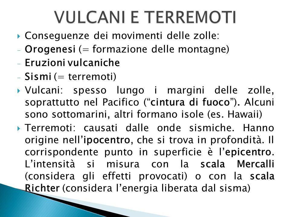  Conseguenze dei movimenti delle zolle: - Orogenesi (= formazione delle montagne) - Eruzioni vulcaniche - Sismi (= terremoti)  Vulcani: spesso lungo i margini delle zolle, soprattutto nel Pacifico ( cintura di fuoco ).