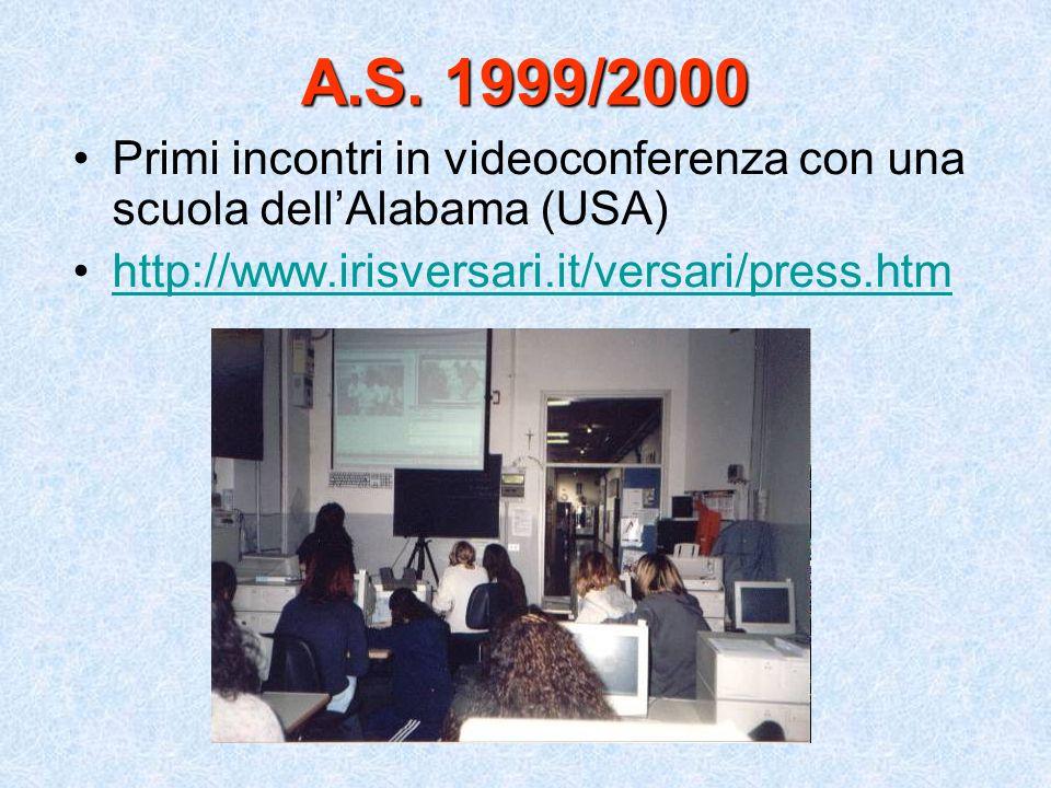A.S. 1999/2000 Primi incontri in videoconferenza con una scuola dell'Alabama (USA) http://www.irisversari.it/versari/press.htm