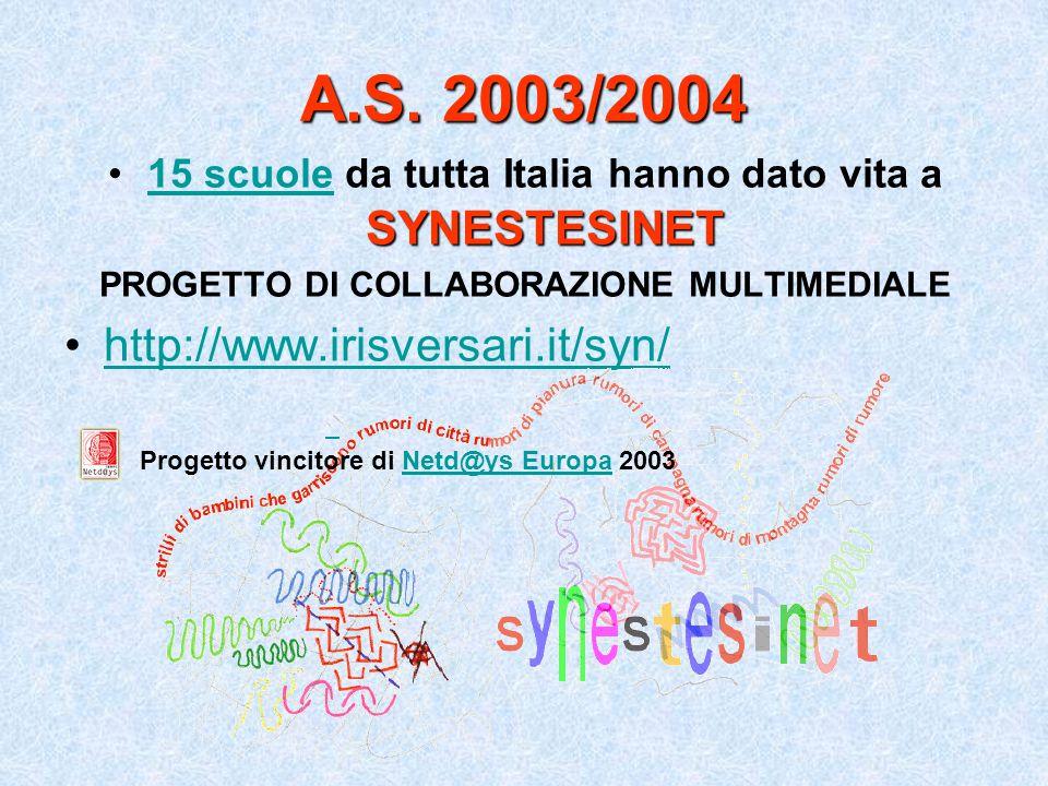 A.S. 2003/2004 SYNESTESINET15 scuole da tutta Italia hanno dato vita a SYNESTESINET15 scuole PROGETTO DI COLLABORAZIONE MULTIMEDIALE http://www.irisve