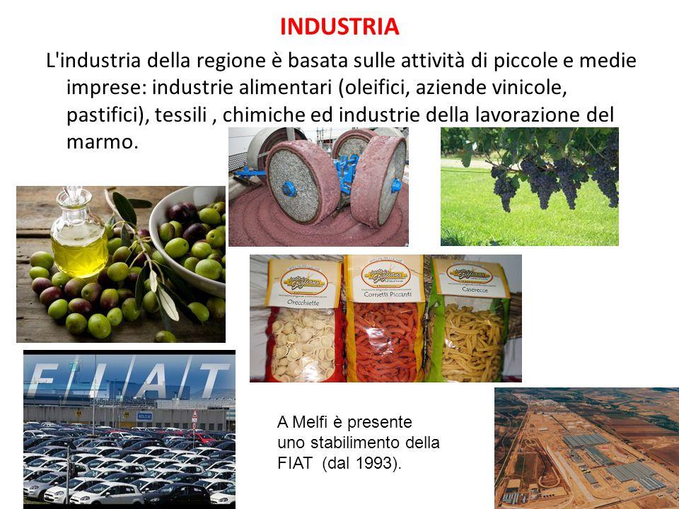 INDUSTRIA L'industria della regione è basata sulle attività di piccole e medie imprese: industrie alimentari (oleifici, aziende vinicole, pastifici),