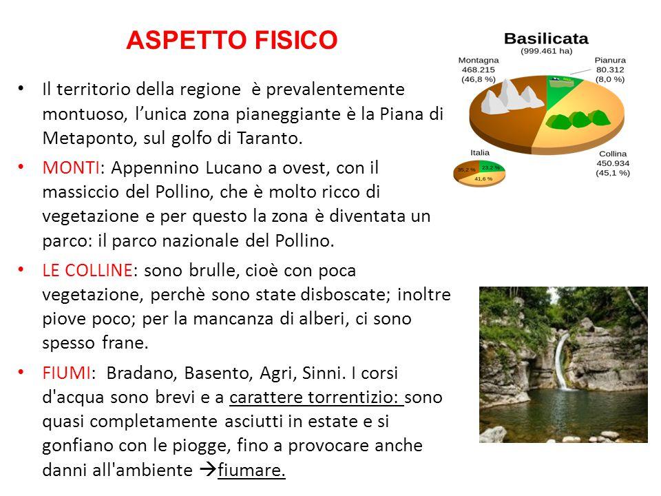 Il territorio della regione è prevalentemente montuoso, l'unica zona pianeggiante è la Piana di Metaponto, sul golfo di Taranto. MONTI: Appennino Luca