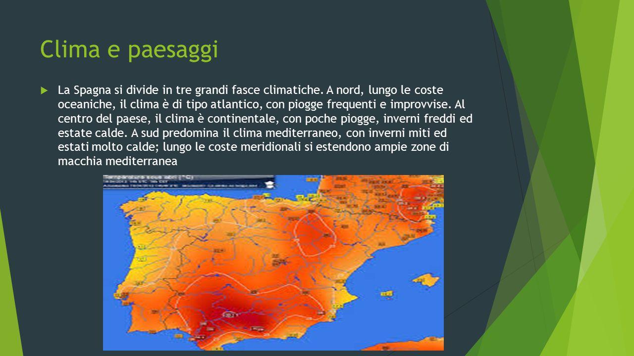 Clima e paesaggi  La Spagna si divide in tre grandi fasce climatiche. A nord, lungo le coste oceaniche, il clima è di tipo atlantico, con piogge freq