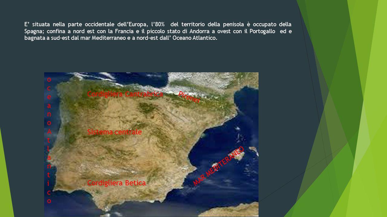 E' situata nella parte occidentale dell'Europa, l'80% del territorio della penisola è occupato della Spagna; confina a nord est con la Francia e il pi