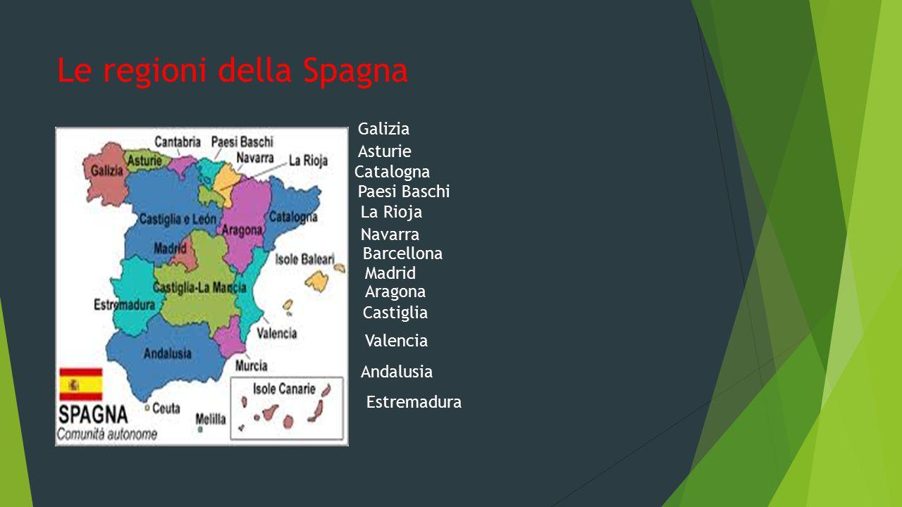Le regioni della Spagna Galizia Asturie Paesi Baschi Navarra La Rioja Catalogna Aragona Castiglia Madrid Estremadura Valencia Andalusia Barcellona