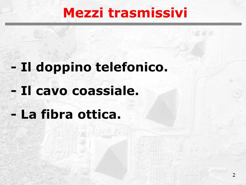 2 Mezzi trasmissivi - Il doppino telefonico. - Il cavo coassiale. - La fibra ottica.