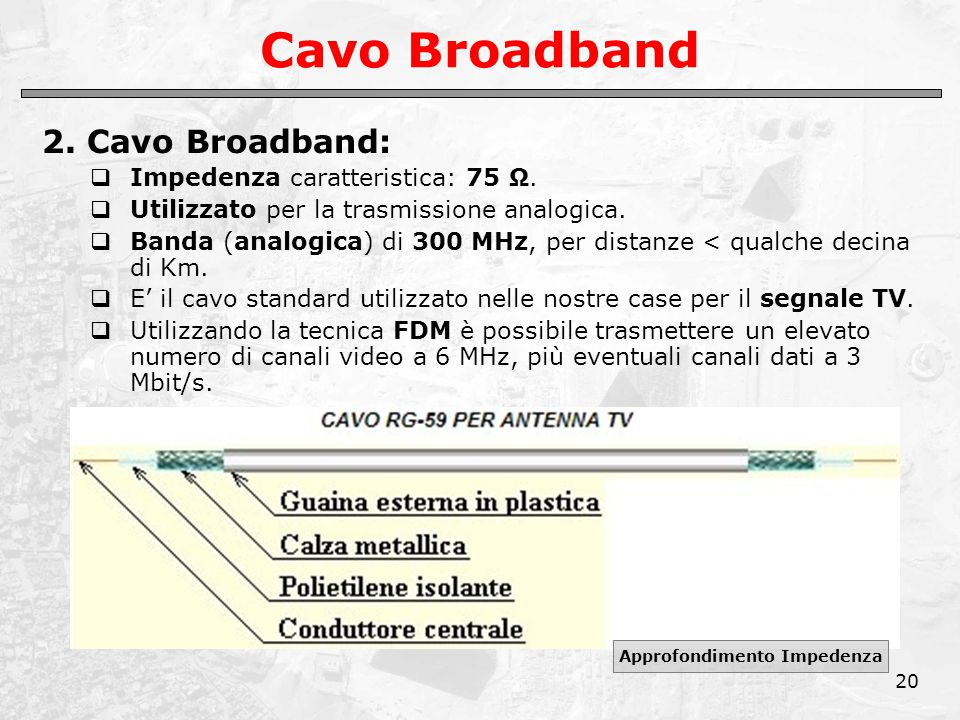 20 Cavo Broadband 2. Cavo Broadband:  Impedenza caratteristica: 75 Ω.  Utilizzato per la trasmissione analogica.  Banda (analogica) di 300 MHz, per