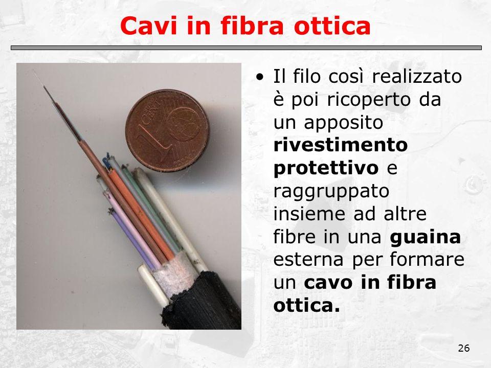 26 Cavi in fibra ottica Il filo così realizzato è poi ricoperto da un apposito rivestimento protettivo e raggruppato insieme ad altre fibre in una guaina esterna per formare un cavo in fibra ottica.