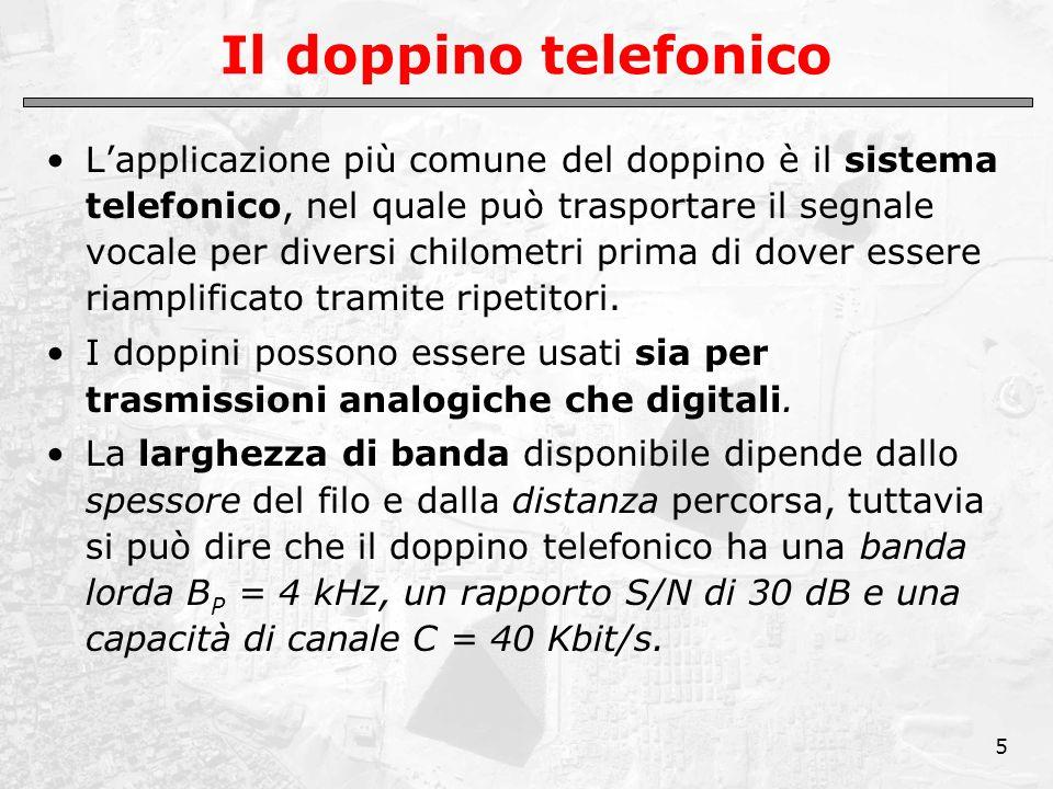 5 Il doppino telefonico L'applicazione più comune del doppino è il sistema telefonico, nel quale può trasportare il segnale vocale per diversi chilometri prima di dover essere riamplificato tramite ripetitori.