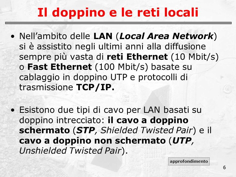 6 Il doppino e le reti locali Nell'ambito delle LAN (Local Area Network) si è assistito negli ultimi anni alla diffusione sempre più vasta di reti Ethernet (10 Mbit/s) o Fast Ethernet (100 Mbit/s) basate su cablaggio in doppino UTP e protocolli di trasmissione TCP/IP.