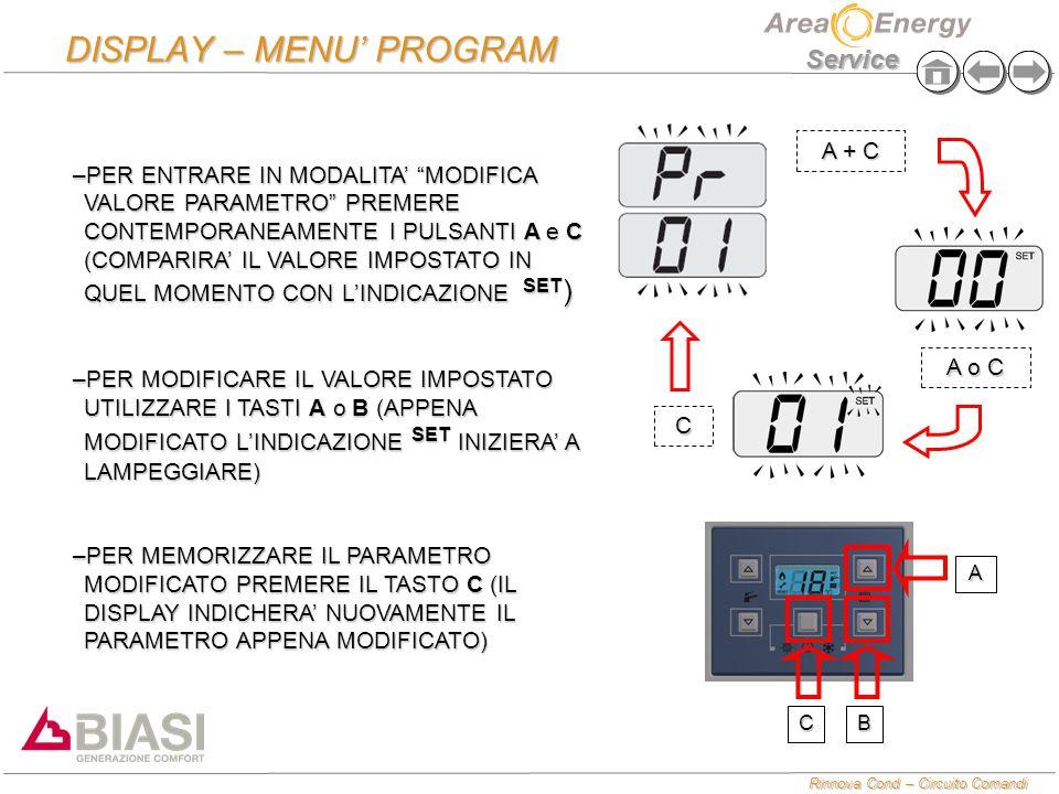 """Rinnova Cond – Circuito Comandi Service DISPLAY – MENU' PROGRAM –PER ENTRARE IN MODALITA' """"MODIFICA VALORE PARAMETRO"""" PREMERE CONTEMPORANEAMENTE I PUL"""