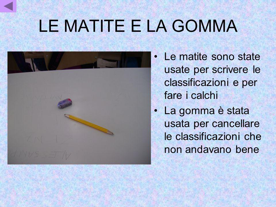 LE MATITE E LA GOMMA Le matite sono state usate per scrivere le classificazioni e per fare i calchi La gomma è stata usata per cancellare le classific