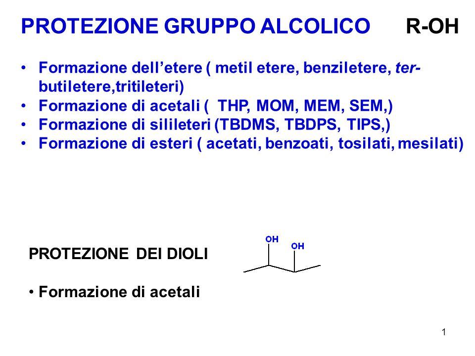 1 PROTEZIONE GRUPPO ALCOLICO R-OH Formazione dell'etere ( metil etere, benziletere, ter- butiletere,tritileteri) Formazione di acetali ( THP, MOM, MEM